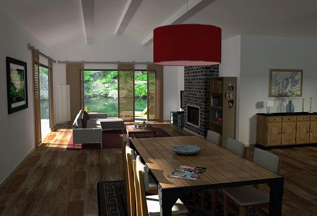 dřevěný interiér, červený lustr, jídelní stůl
